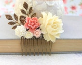 Big Rose Hair Comb Light Yellow Cream Flower Comb Wedding Accessories Shabby Floral Comb Country Chic Bridal Hair Jewelry Bridesmaids Gift