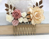 Bridal Hair Comb Dusty Rose Pink Vintage Style Cream Gold Floral Collage Comb Hair Accessories Romantic Wedding Hair Comb Bridemaids Gifts