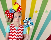 Fabric Bow, Fabric Headband, Over The Top Fabric Bow, Huge Fabric Bow, OTT Bow, OTT Fabric Bow. Circus BowBow. Chevron Bow
