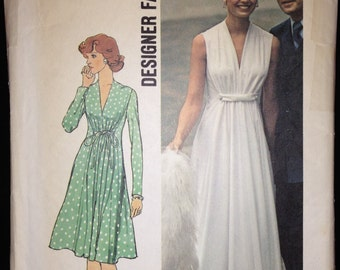 Simplicity 6672 Misses Evening Dress with Gathered Bodice Vintage 70s Sewing Pattern Sz 10