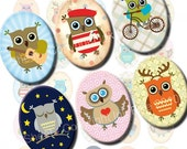 Little Owls 30x40 mm ovals. Digital Collage Sheet for cabochons, cameos, pendants. Printable owl 30 x 40 mm oval images. Instant download