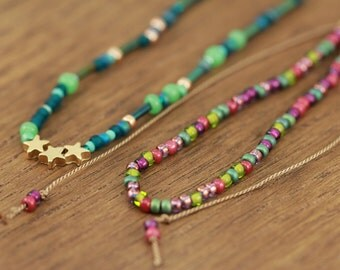 set of bohemian bracelets, silk cord, gold-plated stars, boho chic, artisantree