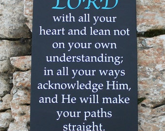 Custom Sign - TRUST in the Lord, with all of your heart... - large wood sign, Bible verse, scripture sign, subway