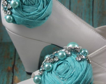 Blue shoe clips for wedding - bridal shoe clips - shoe clips for bride - robin egg blue - SHOES NOT INCLUDED