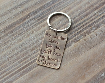 Hand Stamped Custom Keychain - Vintage Brass - Personalized - Gift for Him