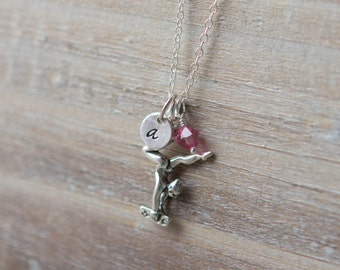 Gymnast Necklace - Little Girl Necklace - Sterling Silver - Initial Necklace - Gymnastics Beam - Aquamarine Necklace - June Birthstone