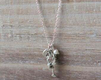 Figure Skating Necklace - Little Girl Necklace - Sterling Silver Initial Handstamped - Garnet Birthstone January - Valentine's Day Gift