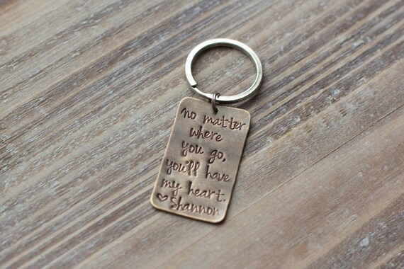Hand Stamped Custom Keychain - Vintage Brass - Personalized - Gift for Him - Christmas Gift