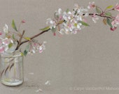 "Branch of white and pink Spring apple blossom flowers in jar with a grey background - Art Reproduction (Print) - ""Apple Blossoms"""