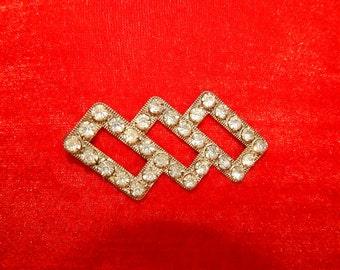 Gorgeous large antique 30's Art Deco rhinestone rectangular geometric silver tone avant garde bombshell brooch pin