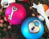 Glass Christmas Ornament Hand Painted You are the Key to My Heart Set in Pink  Blue  Ribbons