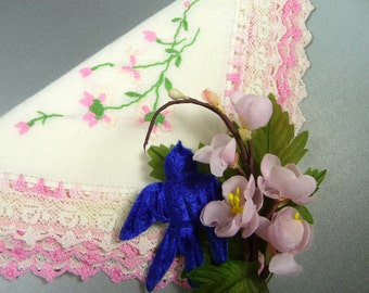 Vintage Hanky Corsage Pin Crochet Linen Pink Floral Velvet Millinery Bridesmaid Gift Hankie