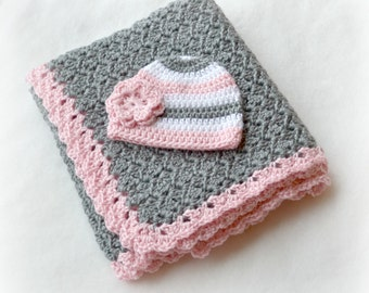 Crochet Baby Blanket Shell Stitch Stroller/Carseat/Travel Blanket and Beanie Set - Heather Grey, Soft Pink and White - MADE TO ORDER