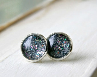 black ice sparkle silver plated post earrings, stud earrings,