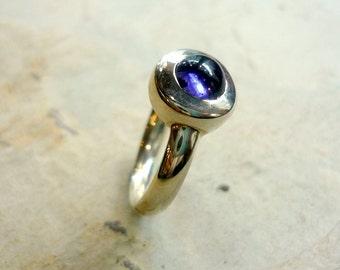 Amethyst Ring, Sterling Silver Ring, Amethyst Gemstone Ring, Round Polished Amethyst Ring, Silver and Amethyst Ring, Simple Purple Ring.