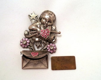 Vintage Silver Cupid Pink Rhinestone Heart Brooch Envelope with Removable I Love You Note
