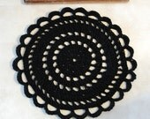 Black Crochet Rug  - Recycled Tshirt