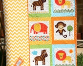 Baby Quilt, Animal Patchwork, Safari Zoo Jungle Blanket, Boy Girl, Monkey Zebra Giraffe Zoologie Unisex Gender Neutral Toddler Bed Blanket