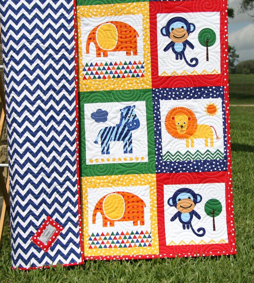 Animal Baby Quilt Patchwork Safari Zoo Jungle Blanket Boy
