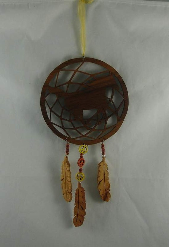 Western Horse Dream Catcher Handmade from Walnut, Oak and Cherry Wood Peace Beads