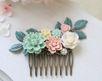 Mint Green Pink Ivory Flowers Hair Comb, Verdigris Leaf Floral Bridal Hair Comb, Rustic Wedding, Vintage Garden Wedding Hair Accessory