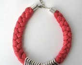 Salmon statement necklace - rope necklace - braided necklace