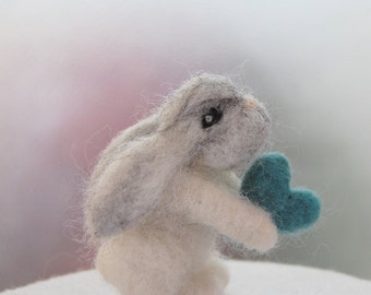 Felted Bunny. Baby Boy Nursery Decor. Needle Felted Animal. Baby Boy Room Ideas. Miniature Animal. Heart. Felted Rabbit Toy. Felted Bunnies
