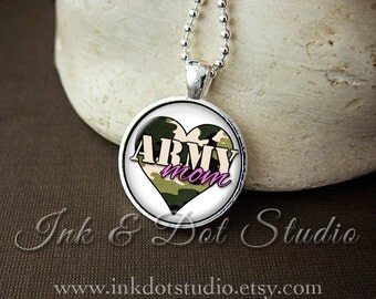 Army Mom Necklace, Army Mom Pendant, Gift for Army Mom, Soldier Mom, Army Jewelry, Camouflage Heart