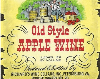 Richard's Old Style Apple Wine Vintage Label, 1940s
