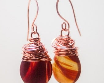 Red Orange and Copper Cherry Quartz Drop Earrings Wrapped in Copper Wire - Something Soothing This Way Comes - Art Jewelry by Sarah McTernen
