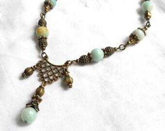 victorian necklace amazonite necklace stone necklace bohemian necklace amazonite jewelry green necklace