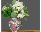 Asian Vase / Hand Glazed Fruit Porcelain Bud Vase / Floral Oriental Vase / White Pink Purple Green Metallic Gold Flower Vase
