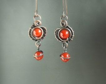 Red copper earrings, gemstone carnelian earrings, antiqued copper jewelry, women gift
