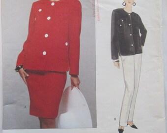 Vogue American Designer 1308 Bill Blass Women's 90s Jacket Skirt Pants Sewing Pattern Bust 34