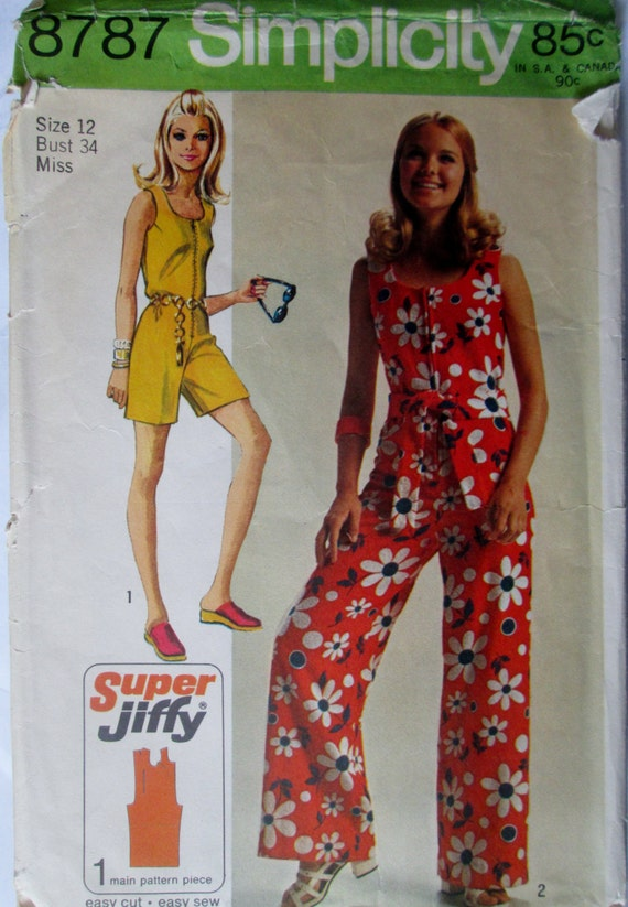 Innovative Jumpsuits Women Simplicity 5688 Misses 1970s Halter Jumpsuit Pattern