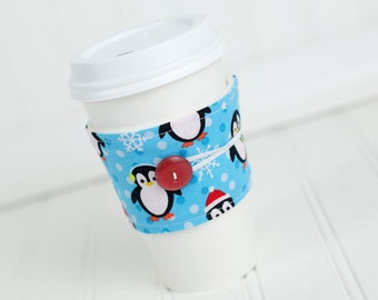 Coffee Sleeve Cozy Penguin Print Unisex Reusable Cup Cover Great for Ugly Christmas Sweater Party