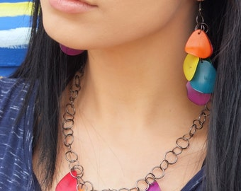 Rainbow earrings- tagua earrings