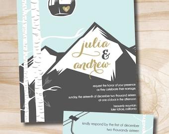 Gondola Mountain Wedding Invitation and Response Card / Rsvp - Printable Invitation