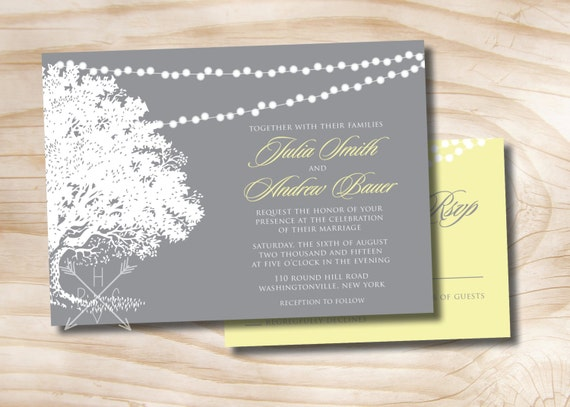 Oak Tree Lights Wedding invitation and response Card 100