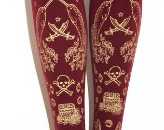 Pirate Narwhal Print Tights Gold on Burgundy Medium Large Tall Red Bordeaux Cranberry Oxblood Steampunk