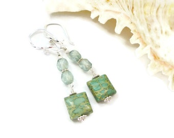 Jasper Earrings, Stone Earrings, Green Stone Earrings, Czech Glass, Impression Jasper, Seafoam, Green, Sterling Silver