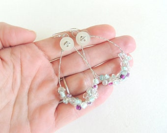 Beaded, Guitar String Earrings - silver hoop earrings -  - for teens and adults - recycled/eco-friendly/upcycled jewelry - under 25.00