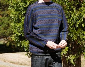 1960's Mod Blue Wool Nordic Ski Sweater