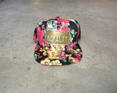 ROJAS royalty red roses floral black snapback hat with metal  can custom plate flower power snap back hats  florals caps flower cap king red