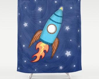 Rocket Ship Shower Curtain, Children's Bathroom, Kids Bathroom Decor, Outer Space Rocket Bathroom, Boy Bathroom Decor
