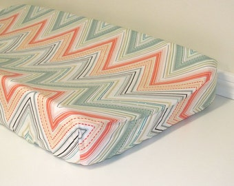 Baby Changing Pad Cover - Rapture - Chevron Marvel - Contoured - in Blush, Coral, Mint, and White