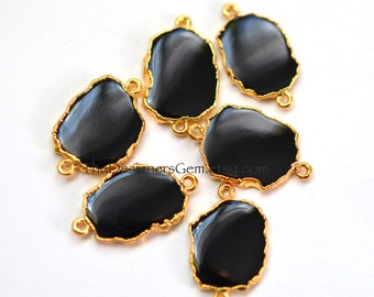 Gold Dipped Black Onyx Slice Edged 24k Gold Connector
