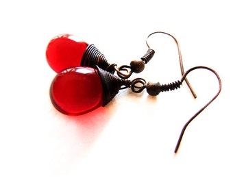 Red Drop Earrings, Bloody Drops, Vivid Red Dangle Drop Earrings