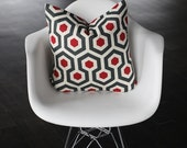 "Red Honeycomb Decorative Pillow Cover- 12x18"" Lumbar- Red- Gray- Ivory- Holidays- Christmas"