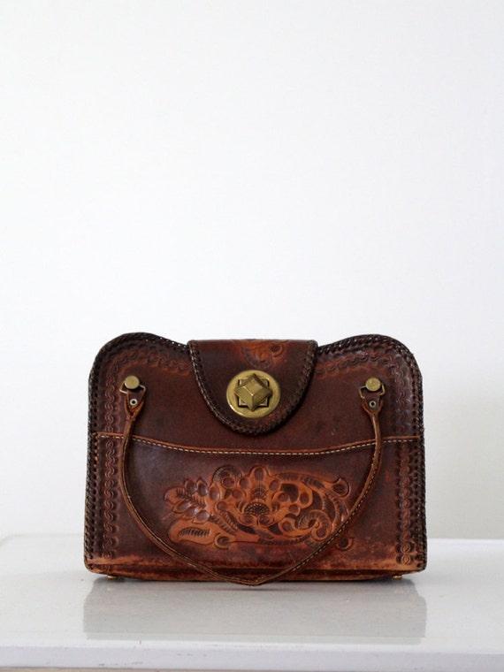RESERVE vintage 60s leather handbag / embossed leather purse